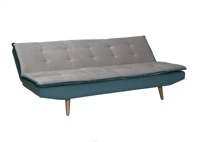 Color Mixed Functional Sofa Bed Lint Foam Material With Solid Wood Legs