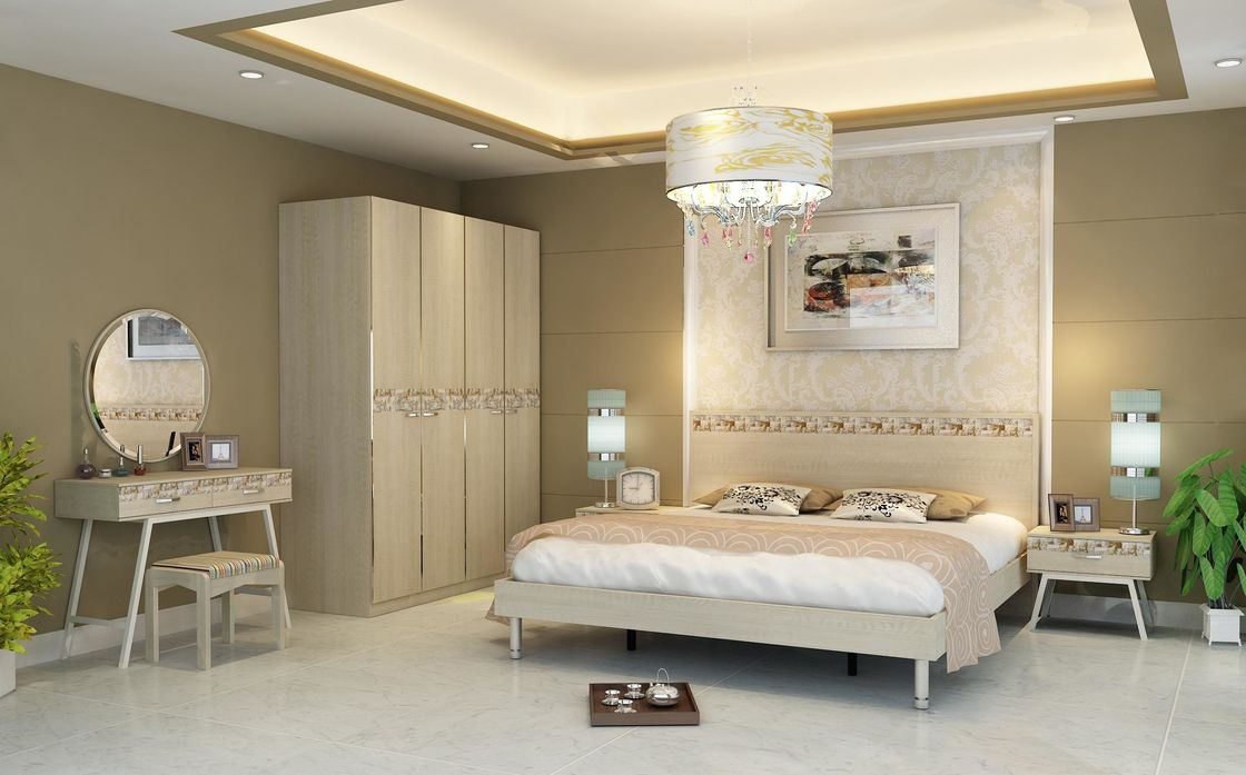 Light Walnut Color Simple Bedroom Sets Eco - Friendly MDF With Melamine Material