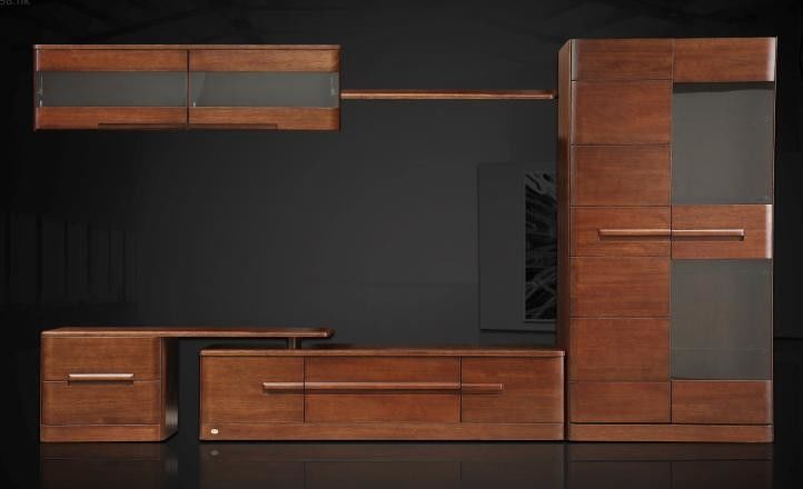 Full Solid Wood Living Room Furniture Wall Units With Rosewood Color