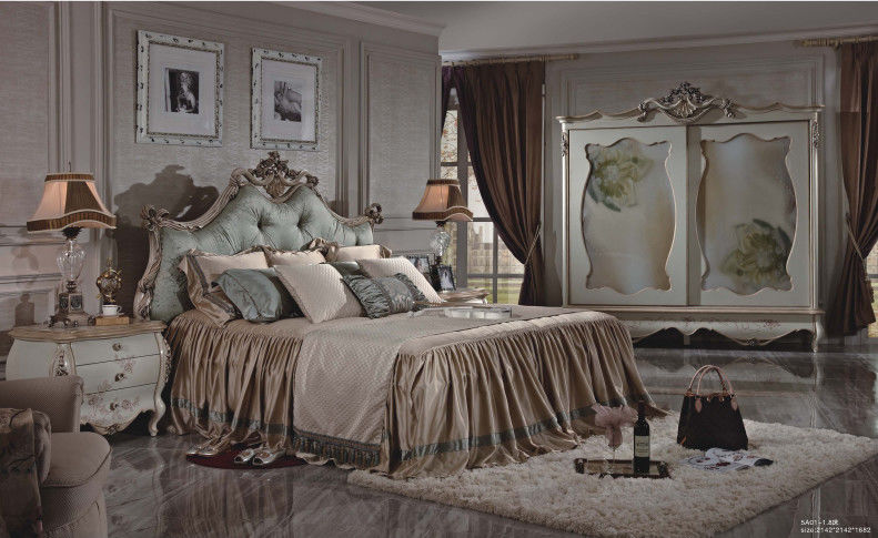 French Style Bedroom Furniture / 1.8 * 2.0 Meter French King Size Bed